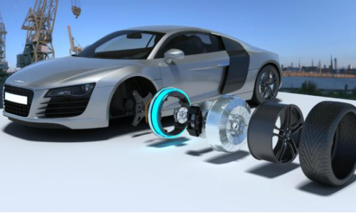 Audi R8 Boasts Faster with Elaphe's in-wheel motor